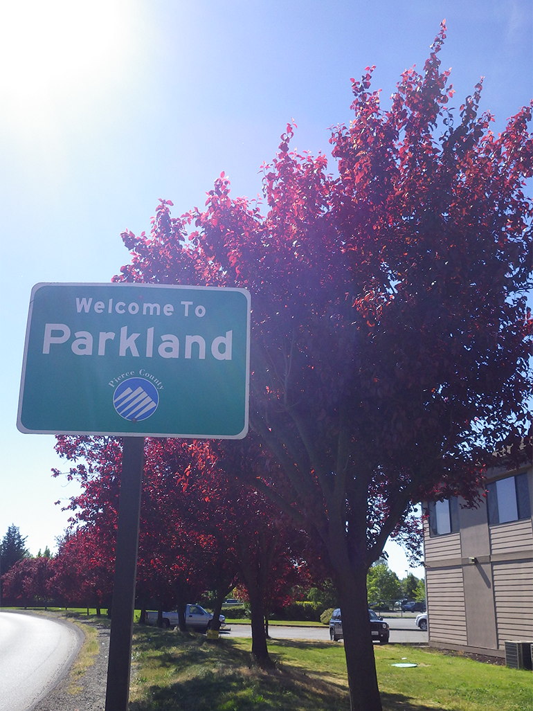 Welcome to Parkland sign with tree in background